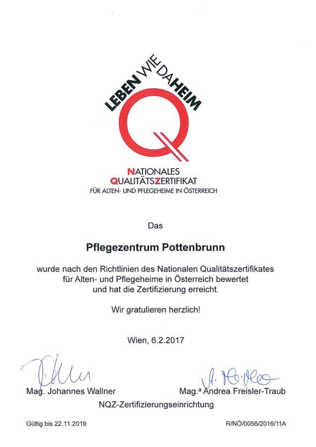 Nationales Qualitätszertifikat (NQZ) für Alten-. und Pflegeheime in Österreich – Zertifikat